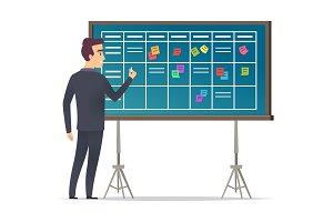 Business schedule board. Businessman