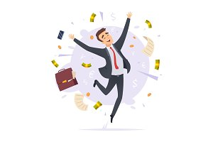 Happy businessman. Jumping