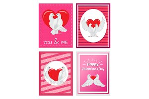 White Doves Couples with Heart