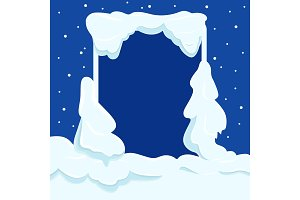Snowy Square Frame with Copyspace