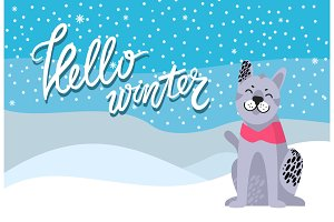Hello Winter Poster with Spotted