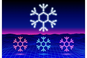 Christmas neon snowflake icon or