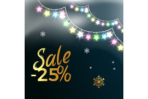 Sale -25% Garlands &Snowflake Vector