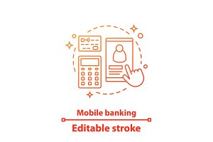 Mobile banking concept icon