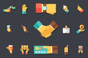Hands Business Accessories Icons