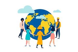 People circle dance around Earth