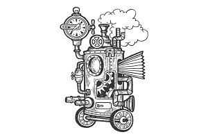 Fantastic steam punk machine vector