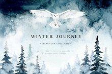 Winter journey - watercolor set