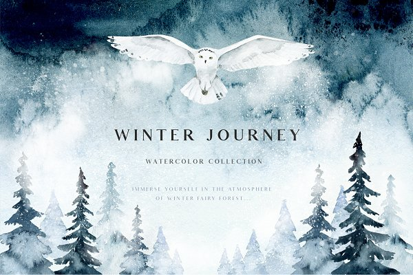 Winter journey - watercolor set