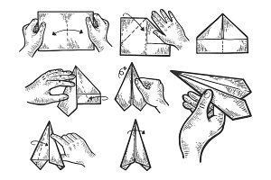 Paper airplane instructions vector
