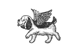 Angel flying puppy engraving vector