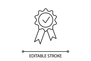 Award medal linear icon