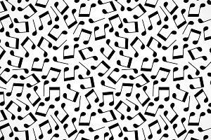 Black and white music notes seamless