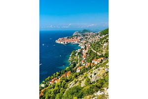 Aerial view of Dubrovnik with the