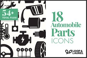 18 Quality Matching Auto Parts Icons