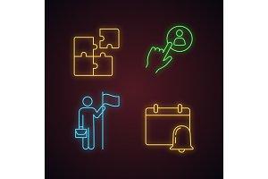 Business management neon icons set