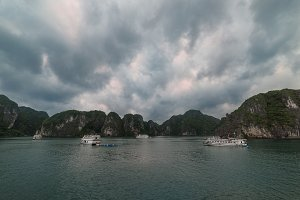 Impressive colorful sunset in HaLong