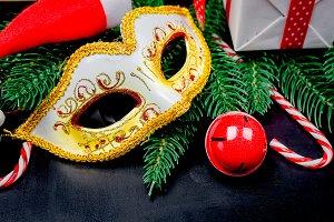 carnival mask and Christmas decorati