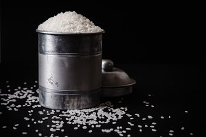 Arborio rice in metallic tin