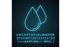 Water drops neon light icon