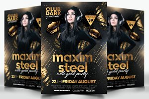A4 Guest Dj Flyer with Gold Party