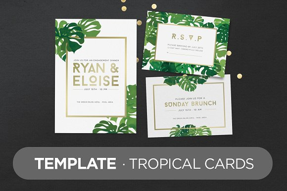template tropical cards invitation templates creative market