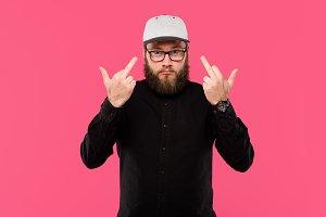 stylish bearded man in eyeglasses sh