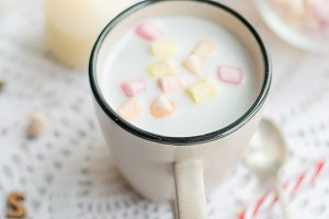 Cup of cocoa with marshmallows and g