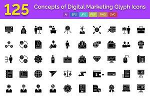 125 Digital Marketing Glyph Icons