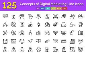 125 Digital Marketing Line Icons