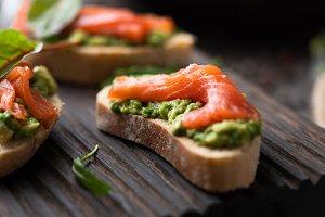 Toast with avocado and smoked salmon