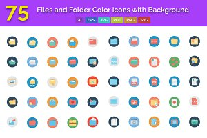 75 Files and Folder Icons with BG