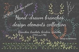 Hand-drawn branches collection