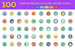 100 Human Resource Color Icons