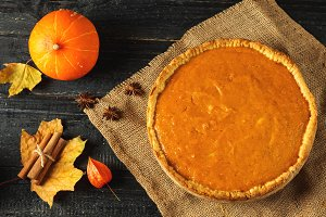 Pumpkin pie for the holiday . Tradit