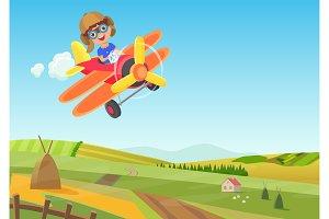 Cute little boy flying in airplane