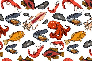 Pattern with set of colored sea food