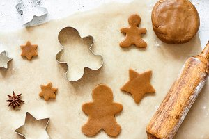 Gingerbread cookies on baking paper