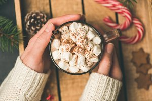 Cup of hot chocolate and marshmallow