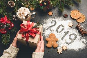Gift box and 2019 greeting