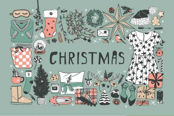 Illustrations and Illustration Products: Vera Serg - Christmas set, 8 patterns, 27 cards