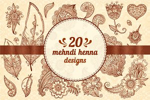 20 henna design vector elements