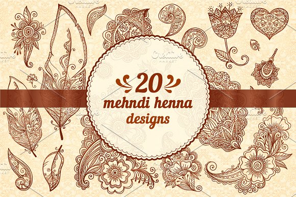 20 Henna Design Vector Elements Graphic Objects Creative Market