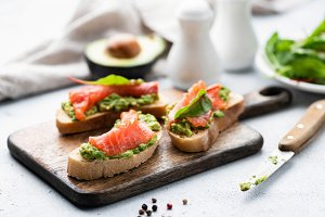 Salmon toast with avocado