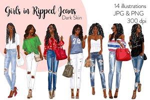 Girls in Ripped Jeans - Dark Skin