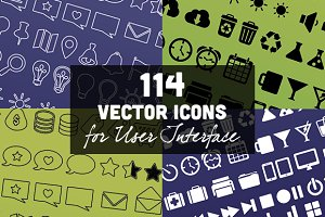 114 Vector Icons for User Interface