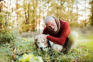 A senior man with a dog in an autumn