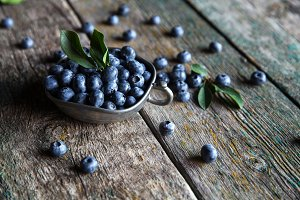 blueberry on a wooden background in