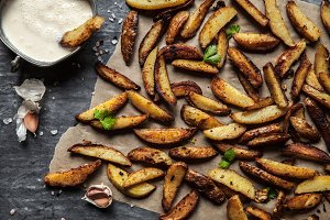Delicious potatoes with rosemary on