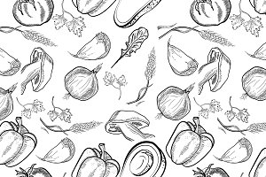 Healthy food Vector pattern of hand